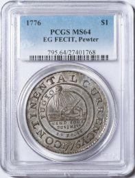1776 Continental Dollar, EG FECIT Pewter -- PCGS MS64