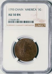 1793 Chain 'America' Cent -- NGC AU50 BN
