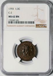 1793 Half Cent C-2 -- NGC MS62 BN