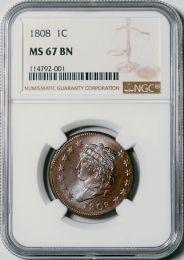 1808 Classic Head Cent -- NGC MS67 BN