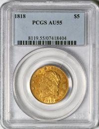 1818 $5 Capped Bust Half Eagle -- PCGS AU55