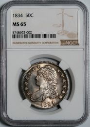 1834 Capped Bust Half Dollar -- NGC MS65