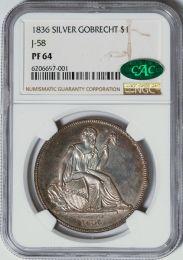 1836 Silver Gobrecht Dollar,  J-58 -- NGC PF64 CAC