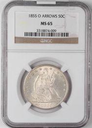 1855-O Arrows Seated Liberty Half Dollar -- NGC MS65