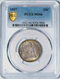1857 Seated Liberty Quarter -- PCGS MS66