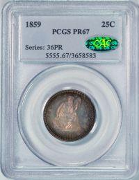 1859 Seated Liberty Quarter -- PCGS PR67 CAC