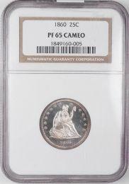 1860 Seated Quarter -- NGC PF65 Cameo