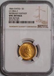 1866-Dated $3 J-C1866-2 Merriam fantasy -- NGC UNC Details