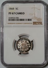 1868 Shield Nickel -- NGC PF67 Cameo