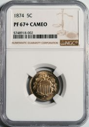1874 Shield Nickel -- NGC PF67+ Cameo