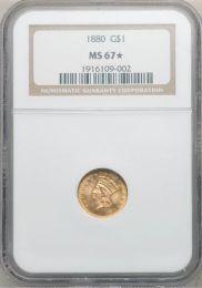 1880 Liberty Gold Dollar -- NGC MS67 (Star)