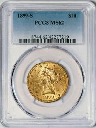 1899-S $10 Liberty -- PCGS MS62