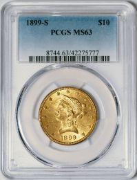 1899-S $10 Liberty -- PCGS MS63