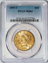 1899-S $10 Liberty -- PCGS MS64