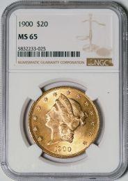 1900 $20 Liberty -- NGC MS65