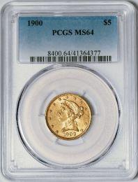1900 $5 Liberty -- PCGS MS64