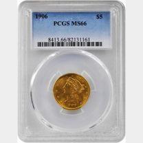 1906 $5 Liberty -- PCGS MS66