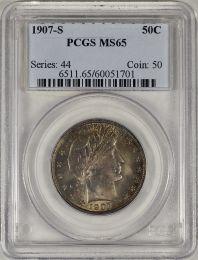 1907-S Barber Half Dollar -- PCGS MS65