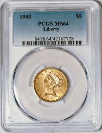1908 $5 Liberty -- PCGS MS64