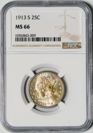 1913-S Barber Quarter -- NGC MS66