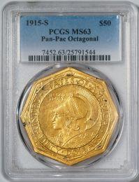 1915-S Pan Pac $50 Octagonal - PCGS MS63