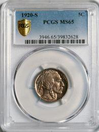 1920-S Buffalo Nickel - PCGS MS65