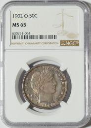 1902-O Barber Half Dollar -- NGC MS65