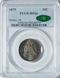 1875 Seated Liberty Quarter -- PCGS MS66 CAC