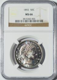 1892 Barber Half Dollar (Tripled Die Reverse) -- NGC MS66