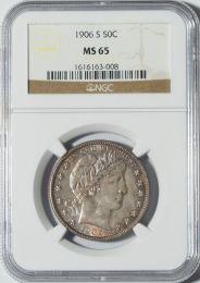 1906-S Barber Half Dollar -- NGC MS65