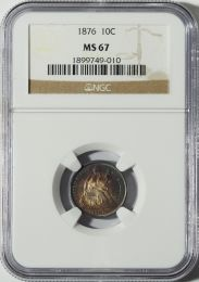 1876 Seated Dime -- NGC MS67