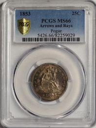 1853 Seated Quarter with Arrows and Rays -- PCGS MS66