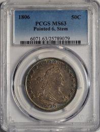1806 Bust Half Dollar, Pointed 6 Stem -- PCGS MS63