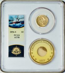 1856-S $5 Liberty SS Central America & Pinch of Gold -- PCGS AU58