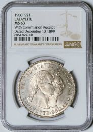 1900 Lafayette Dollar With Commission Receipt - NGC MS63
