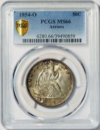 1854-O Arrows Seated Half Dollar -- PCGS MS66