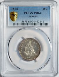 1874 Seated Liberty Quarter with Arrows -- PCGS PR64